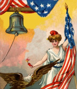 Lady holding American Flag