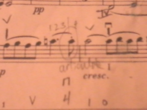 Chopin end of third line has 3 C's in a row.